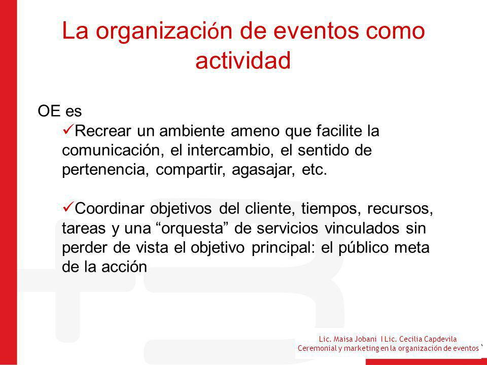 Lic. Maisa Jobani I Lic. Cecilia Capdevila Ceremonial y marketing en la organización de eventos La organizaci ó n de eventos como actividad OE es Recr
