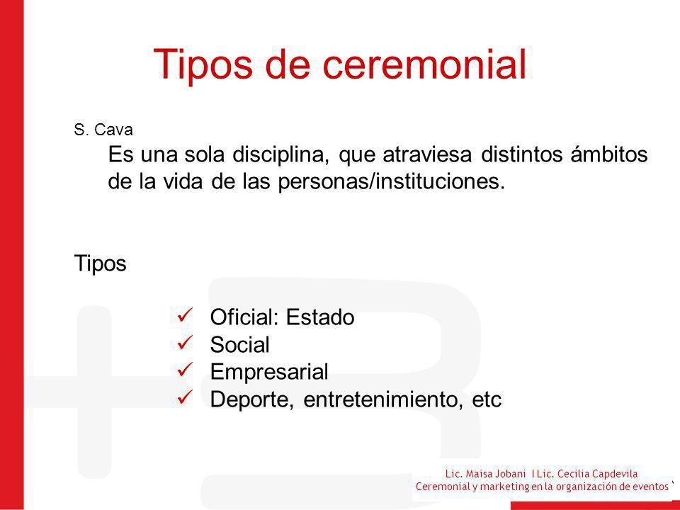 Lic. Maisa Jobani I Lic. Cecilia Capdevila Ceremonial y marketing en la organización de eventos Tipos de ceremonial S. Cava Es una sola disciplina, qu