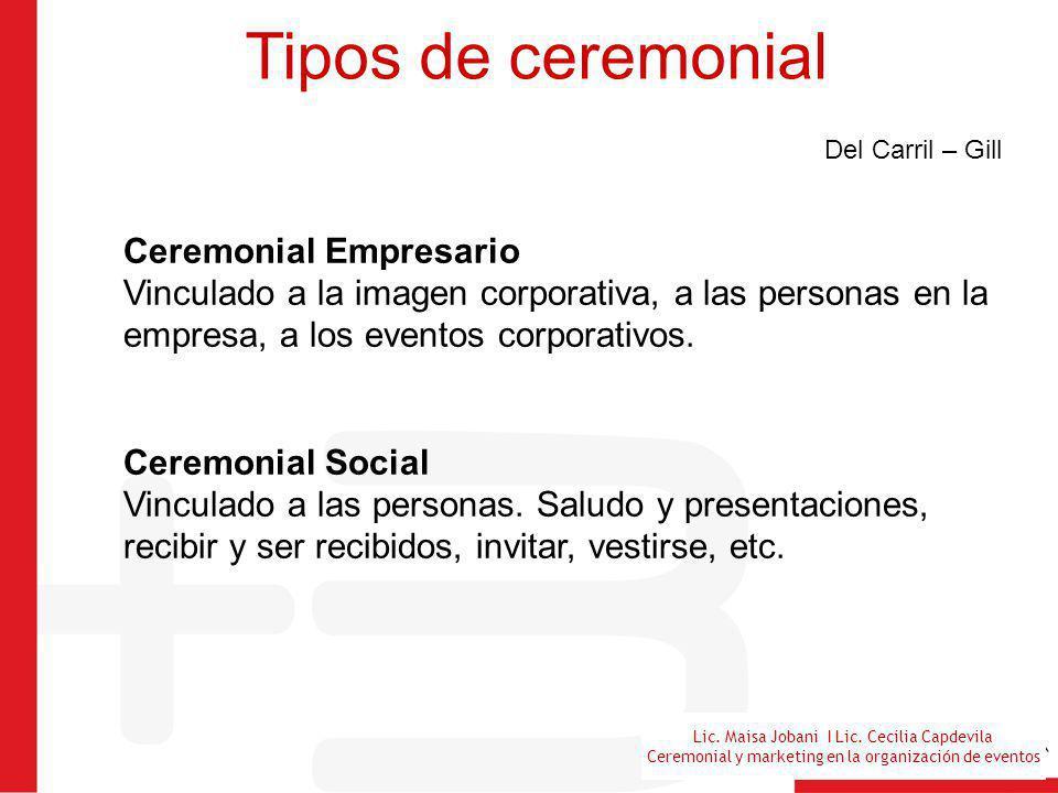 Lic. Maisa Jobani I Lic. Cecilia Capdevila Ceremonial y marketing en la organización de eventos Tipos de ceremonial Del Carril – Gill Ceremonial Empre
