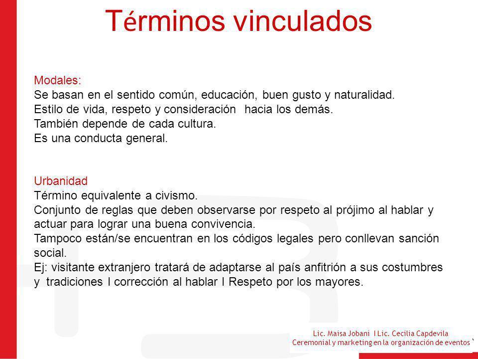 Lic. Maisa Jobani I Lic. Cecilia Capdevila Ceremonial y marketing en la organización de eventos T é rminos vinculados Modales: Se basan en el sentido