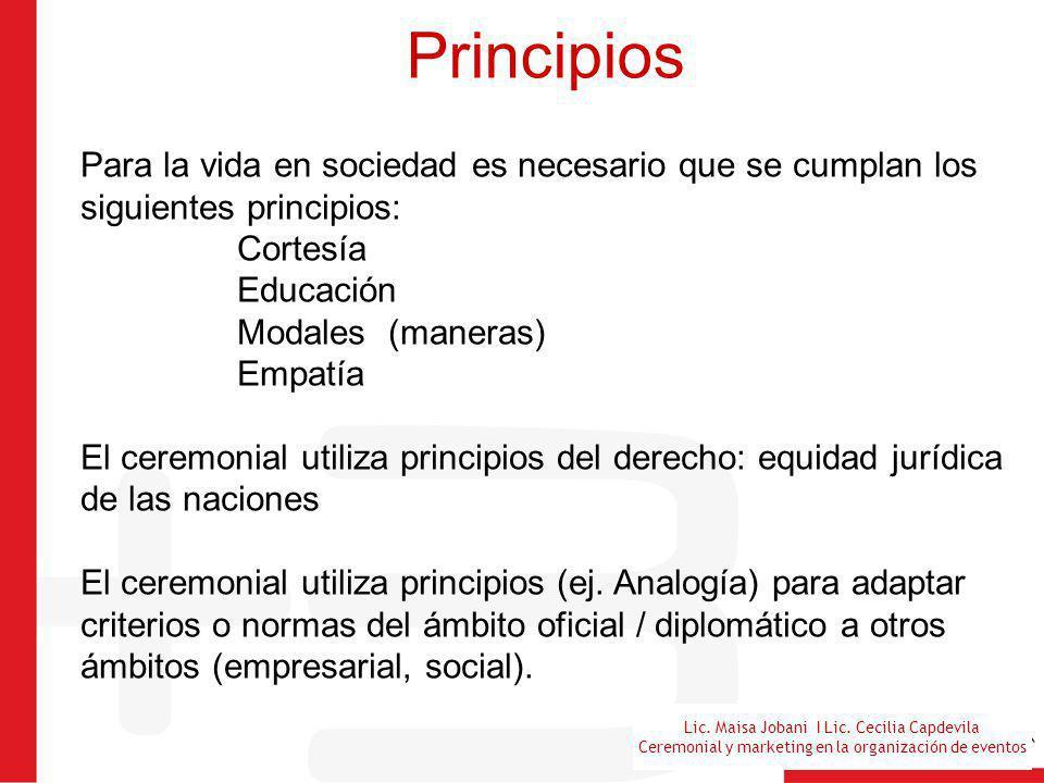 Lic. Maisa Jobani I Lic. Cecilia Capdevila Ceremonial y marketing en la organización de eventos Principios Para la vida en sociedad es necesario que s