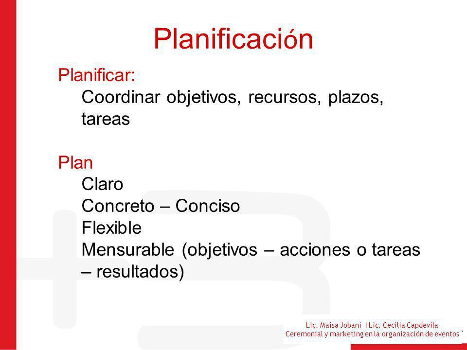 Lic. Maisa Jobani I Lic. Cecilia Capdevila Ceremonial y marketing en la organización de eventos Planificaci ó n Planificar: Coordinar objetivos, recur