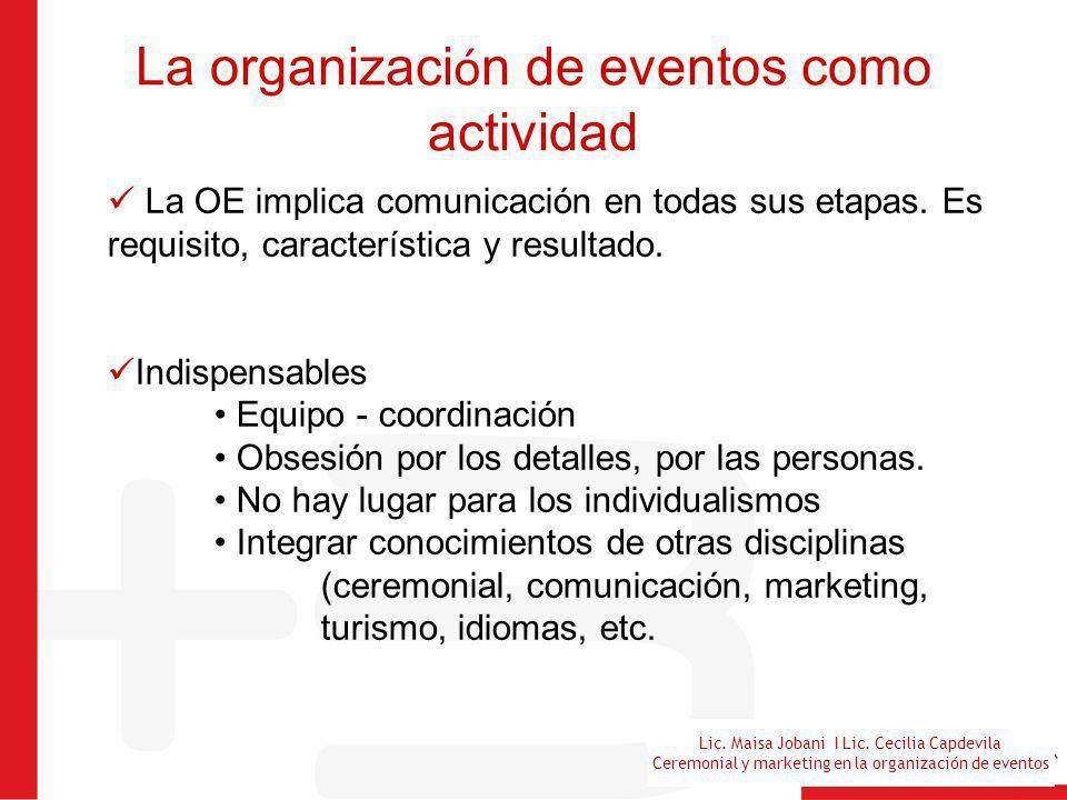 Lic. Maisa Jobani I Lic. Cecilia Capdevila Ceremonial y marketing en la organización de eventos La organizaci ó n de eventos como actividad La OE impl