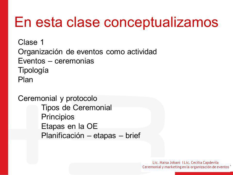 Lic. Maisa Jobani I Lic. Cecilia Capdevila Ceremonial y marketing en la organización de eventos En esta clase conceptualizamos Clase 1 Organización de