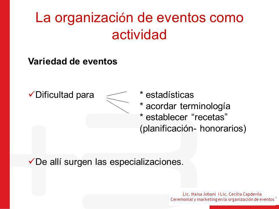 Lic. Maisa Jobani I Lic. Cecilia Capdevila Ceremonial y marketing en la organización de eventos La organizaci ó n de eventos como actividad Variedad d