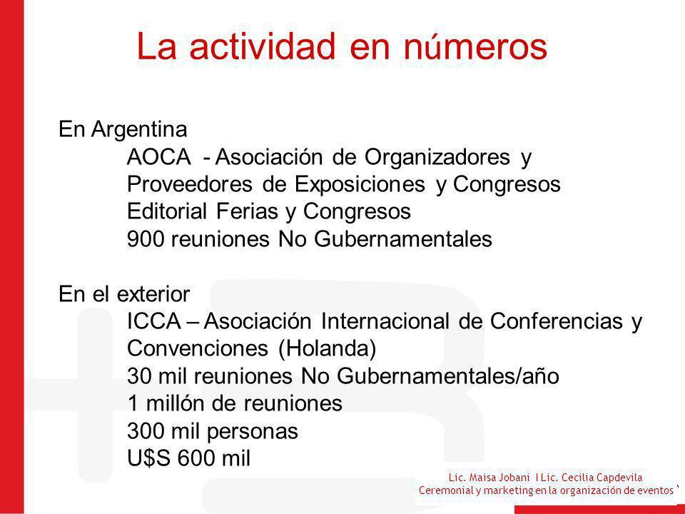 Lic. Maisa Jobani I Lic. Cecilia Capdevila Ceremonial y marketing en la organización de eventos La actividad en n ú meros En Argentina AOCA - Asociaci