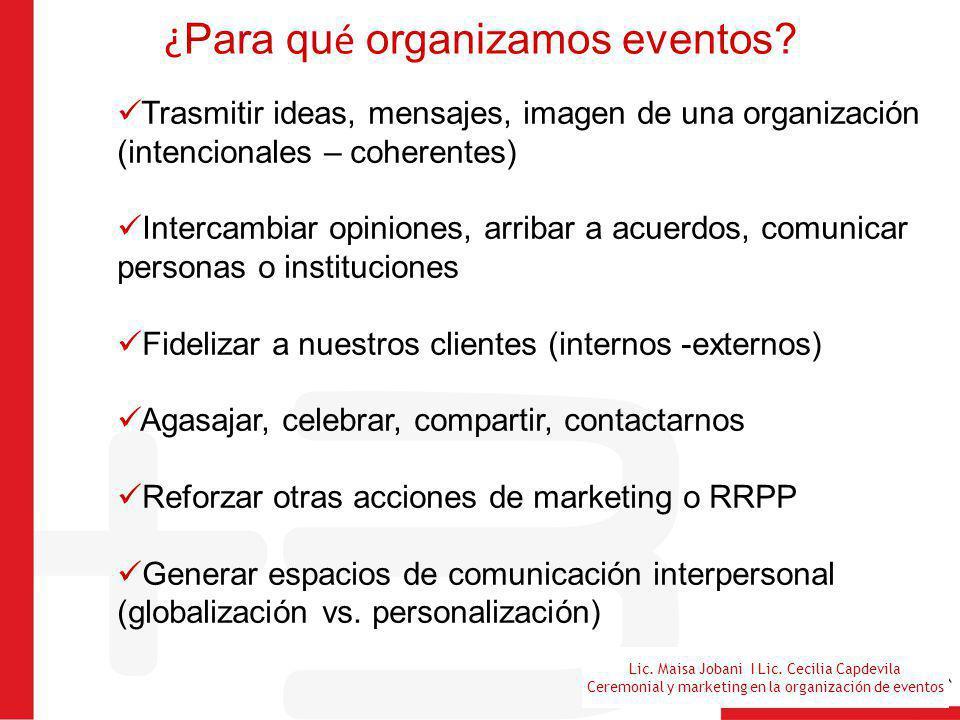 Lic. Maisa Jobani I Lic. Cecilia Capdevila Ceremonial y marketing en la organización de eventos ¿ Para qu é organizamos eventos? Trasmitir ideas, mens