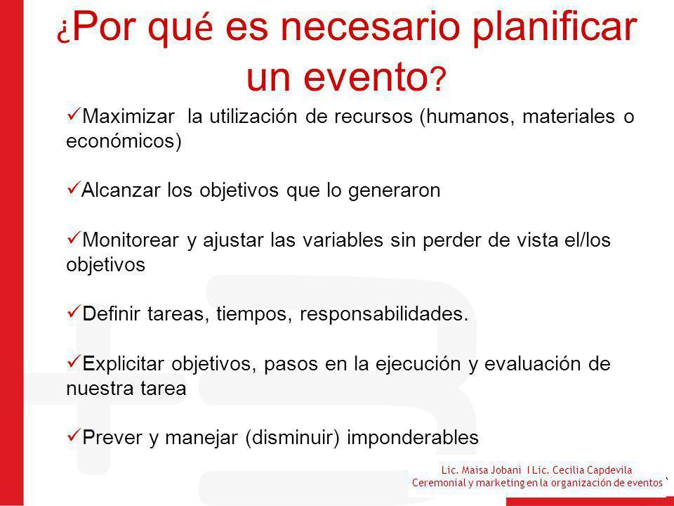 Lic. Maisa Jobani I Lic. Cecilia Capdevila Ceremonial y marketing en la organización de eventos ¿ Por qu é es necesario planificar un evento ? Maximiz