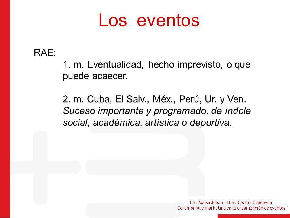 Lic. Maisa Jobani I Lic. Cecilia Capdevila Ceremonial y marketing en la organización de eventos Los eventos RAE: 1. m. Eventualidad, hecho imprevisto,