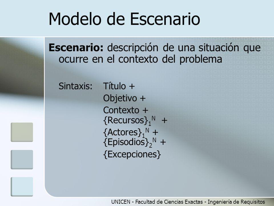 UNICEN - Facultad de Ciencias Exactas - Ingeniería de Requisitos Modelo de Escenario Escenario: descripción de una situación que ocurre en el contexto