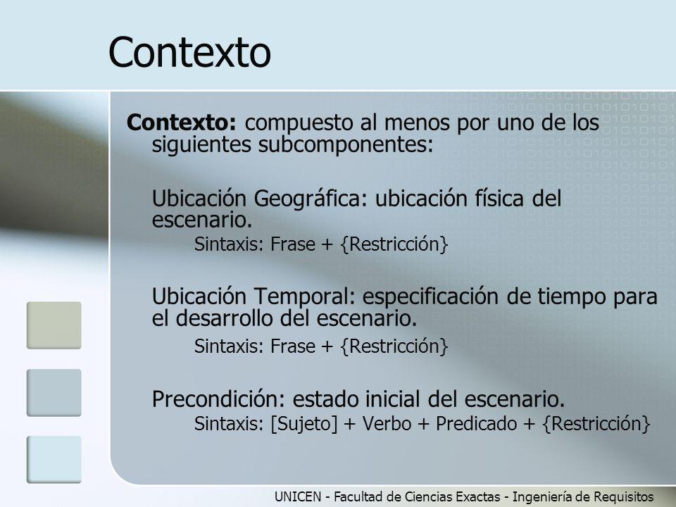 UNICEN - Facultad de Ciencias Exactas - Ingeniería de Requisitos Contexto Contexto: compuesto al menos por uno de los siguientes subcomponentes: Ubica