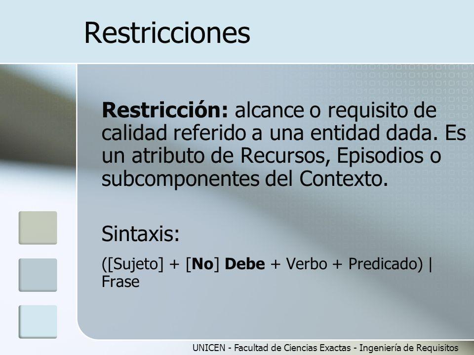 UNICEN - Facultad de Ciencias Exactas - Ingeniería de Requisitos Restricciones Restricción: alcance o requisito de calidad referido a una entidad dada