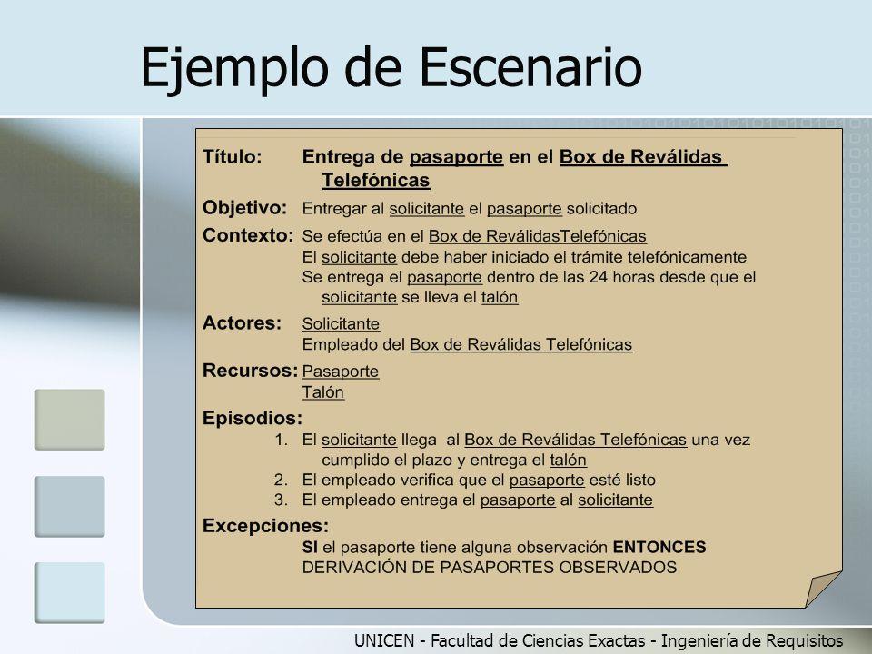 UNICEN - Facultad de Ciencias Exactas - Ingeniería de Requisitos Ejemplo de Escenario