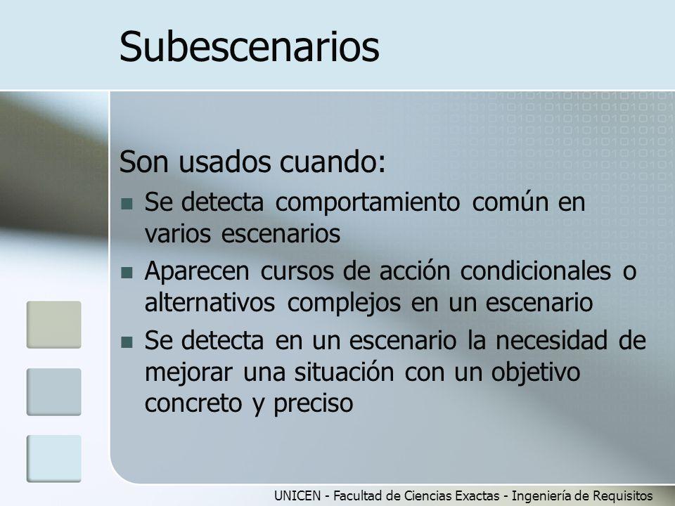 UNICEN - Facultad de Ciencias Exactas - Ingeniería de Requisitos Subescenarios Son usados cuando: Se detecta comportamiento común en varios escenarios