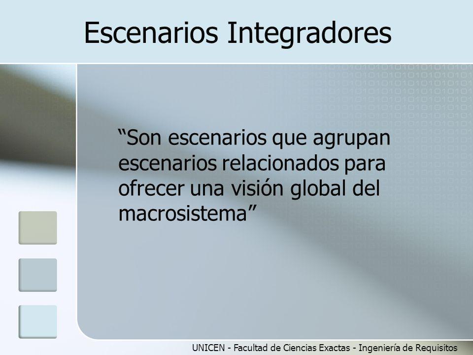 UNICEN - Facultad de Ciencias Exactas - Ingeniería de Requisitos Escenarios Integradores Son escenarios que agrupan escenarios relacionados para ofrec