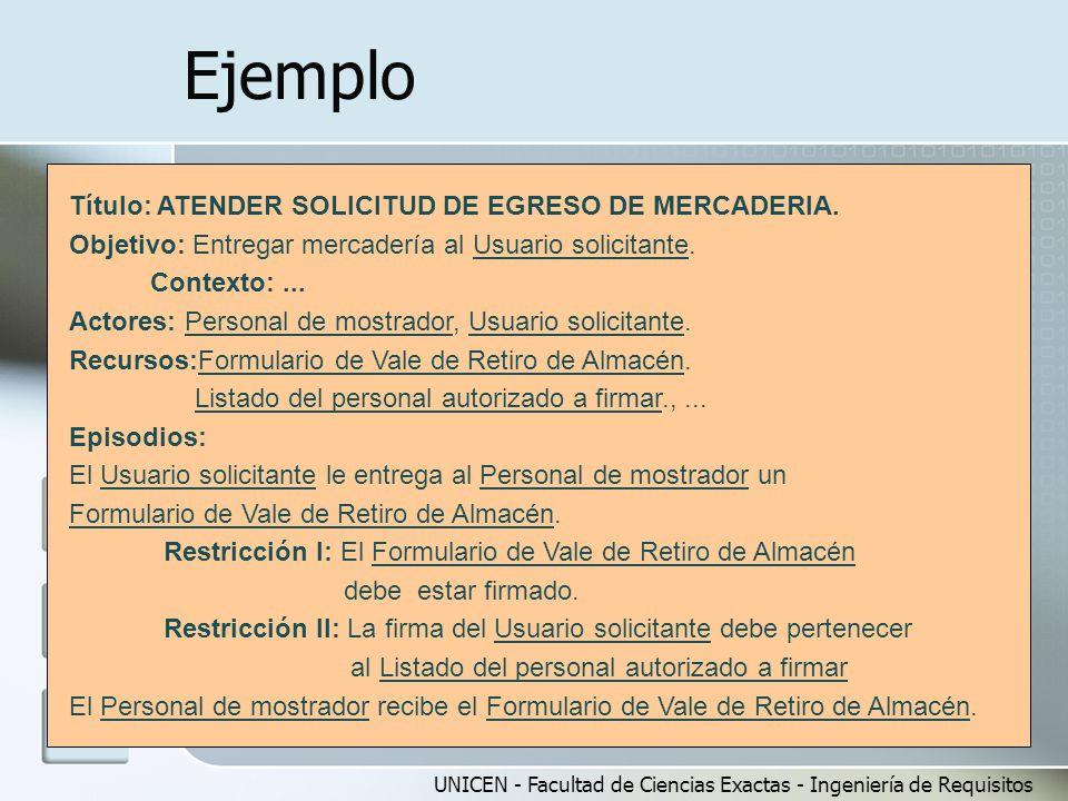 UNICEN - Facultad de Ciencias Exactas - Ingeniería de Requisitos Ejemplo Título: ATENDER SOLICITUD DE EGRESO DE MERCADERIA. Objetivo: Entregar mercade