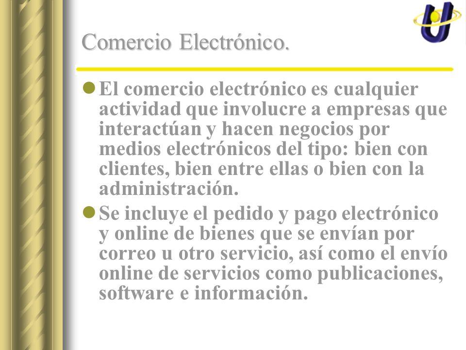 Comercio Electrónico. El comercio electrónico es cualquier actividad que involucre a empresas que interactúan y hacen negocios por medios electrónicos