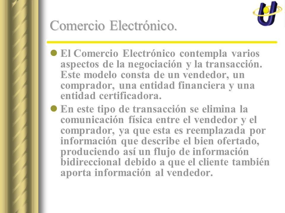 Comercio Electrónico. El Comercio Electrónico contempla varios aspectos de la negociación y la transacción. Este modelo consta de un vendedor, un comp