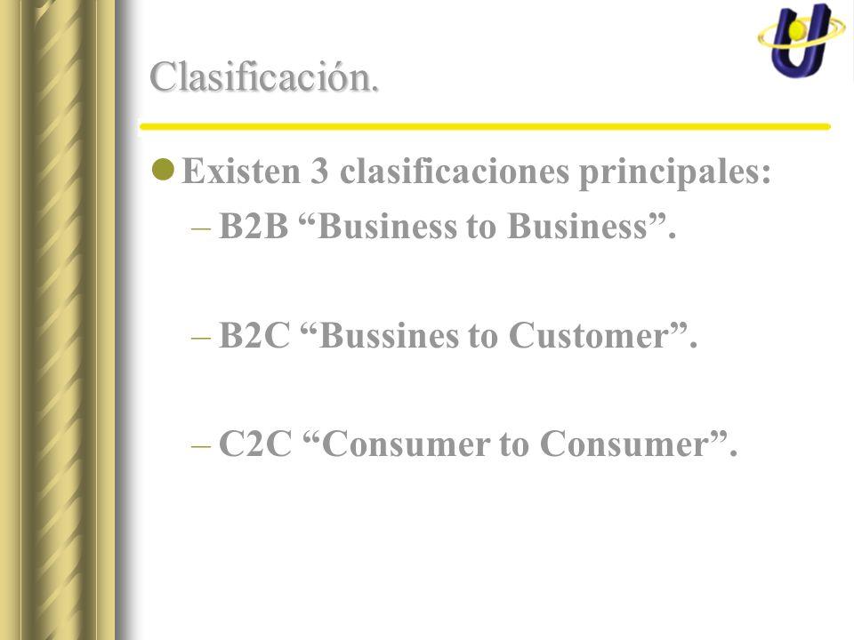 Clasificación. Existen 3 clasificaciones principales: –B2B Business to Business.