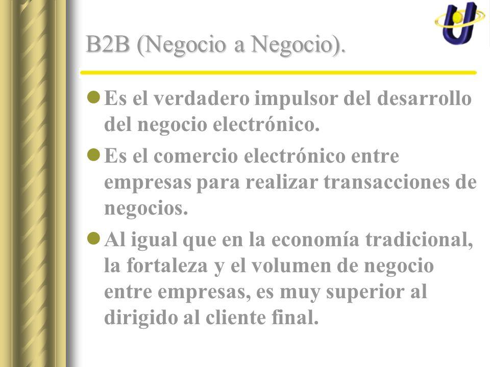 B2B (Negocio a Negocio). Es el verdadero impulsor del desarrollo del negocio electrónico. Es el comercio electrónico entre empresas para realizar tran