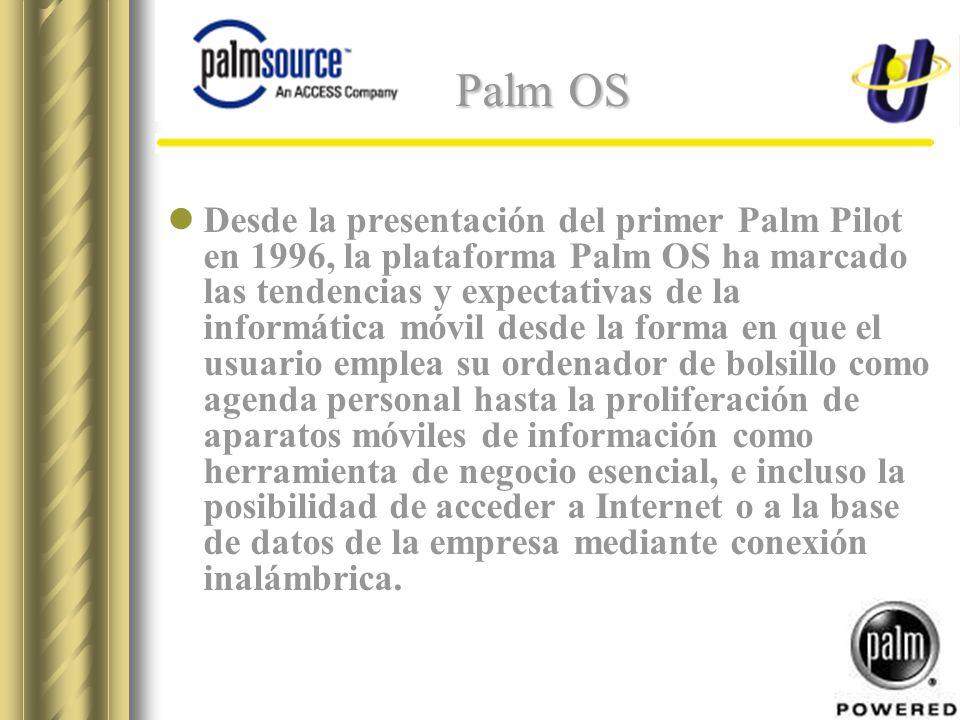 Palm OS Desde la presentación del primer Palm Pilot en 1996, la plataforma Palm OS ha marcado las tendencias y expectativas de la informática móvil desde la forma en que el usuario emplea su ordenador de bolsillo como agenda personal hasta la proliferación de aparatos móviles de información como herramienta de negocio esencial, e incluso la posibilidad de acceder a Internet o a la base de datos de la empresa mediante conexión inalámbrica.