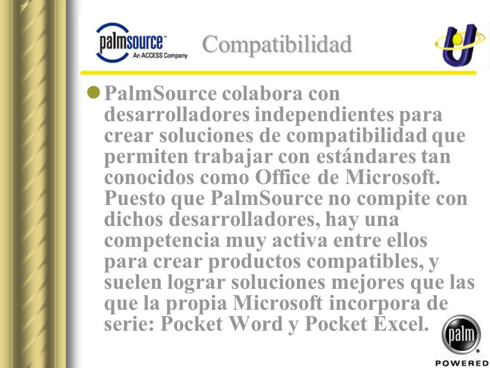 Compatibilidad PalmSource colabora con desarrolladores independientes para crear soluciones de compatibilidad que permiten trabajar con estándares tan conocidos como Office de Microsoft.