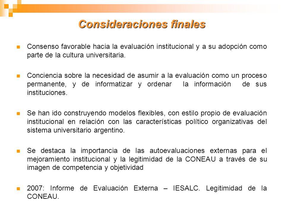 Consideraciones finales Consenso favorable hacia la evaluación institucional y a su adopción como parte de la cultura universitaria. Conciencia sobre
