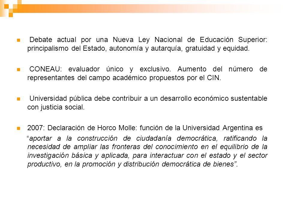 Debate actual por una Nueva Ley Nacional de Educación Superior: principalismo del Estado, autonomía y autarquía, gratuidad y equidad. CONEAU: evaluado