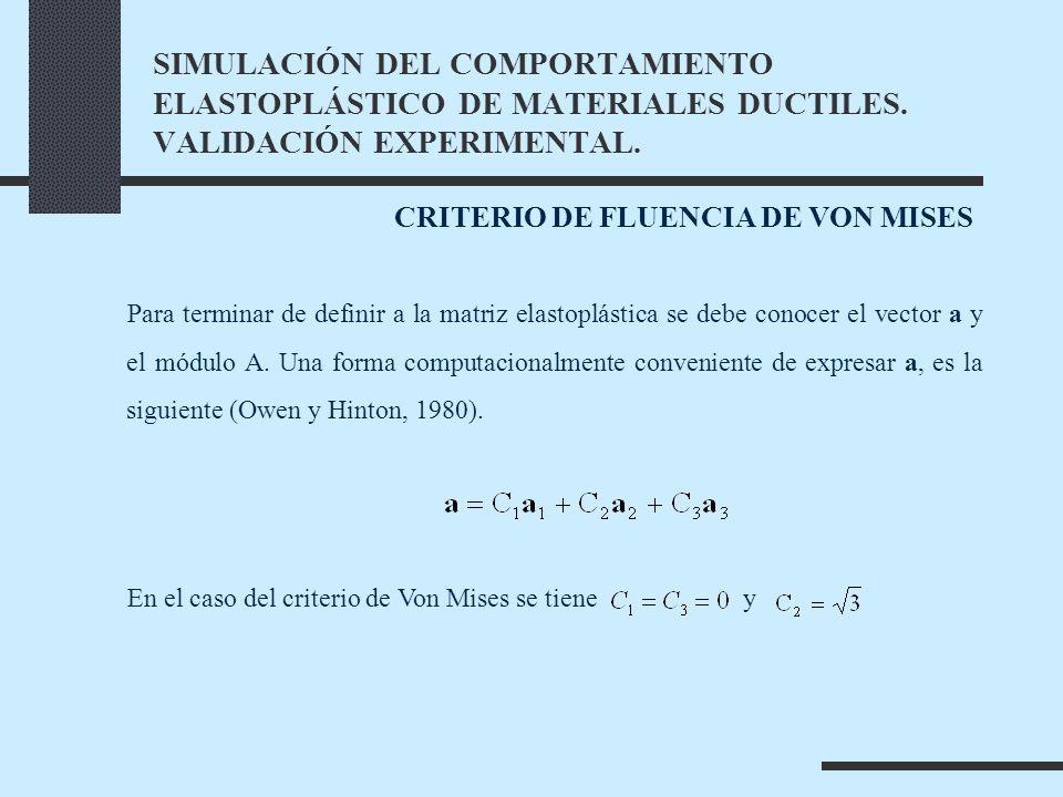 Para terminar de definir a la matriz elastoplástica se debe conocer el vector a y el módulo A.