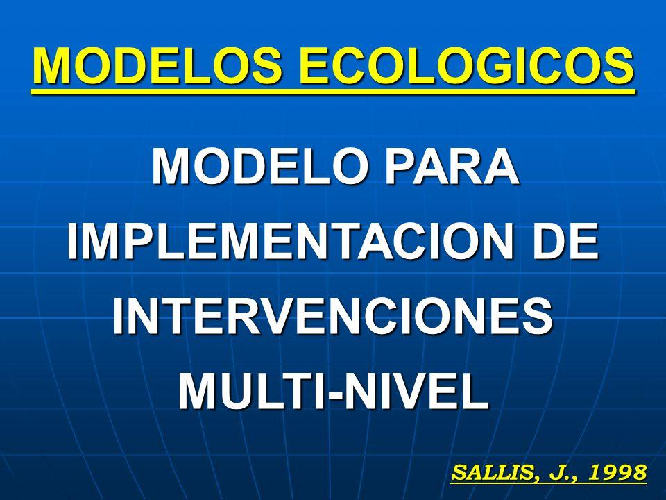 SALLIS, J., 1998 MODELOS ECOLOGICOS MODELO PARA IMPLEMENTACION DE INTERVENCIONES MULTI-NIVEL
