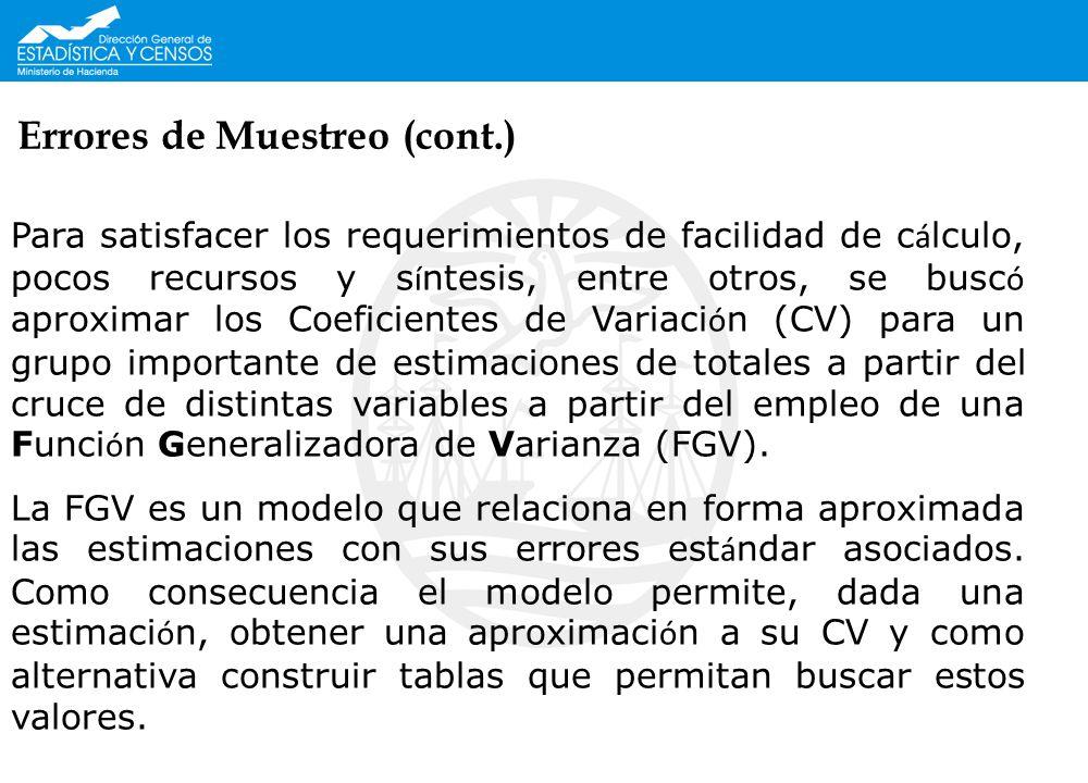 Errores de Muestreo (cont.) Para satisfacer los requerimientos de facilidad de c á lculo, pocos recursos y s í ntesis, entre otros, se busc ó aproxima