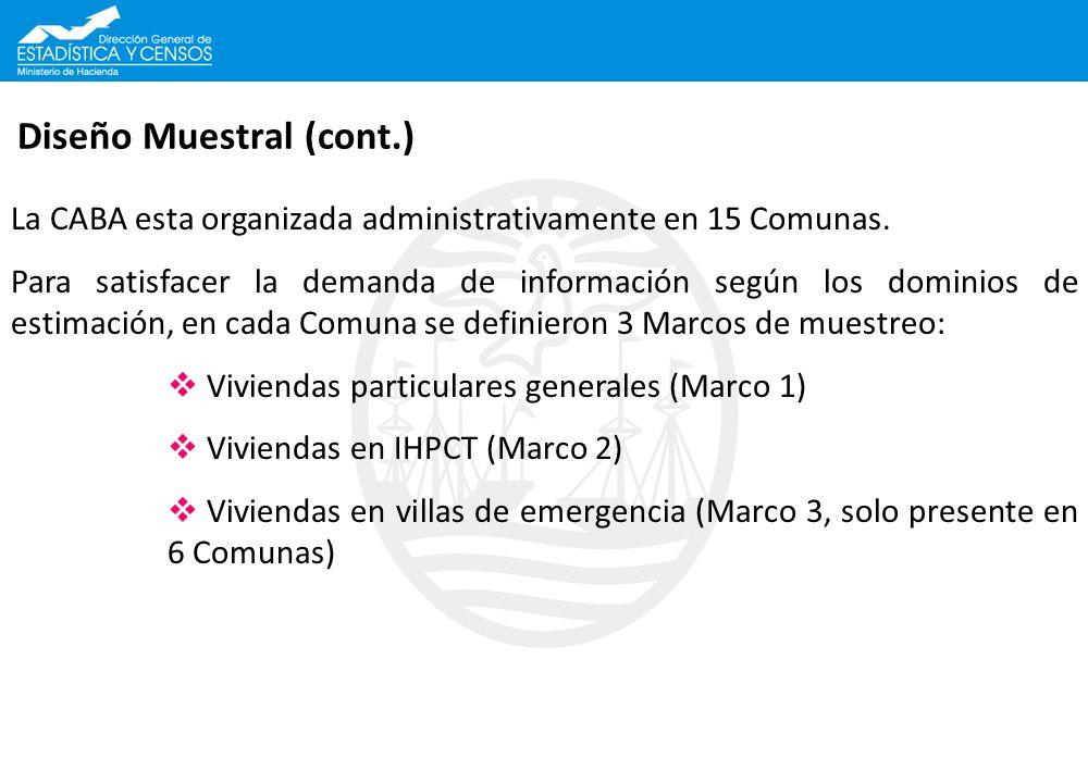 Diseño Muestral (cont.) La CABA esta organizada administrativamente en 15 Comunas. Para satisfacer la demanda de información según los dominios de est
