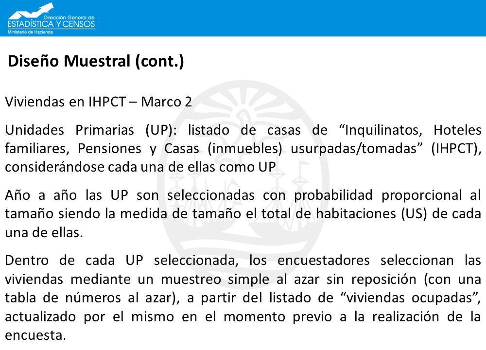Diseño Muestral (cont.) Viviendas en IHPCT – Marco 2 Unidades Primarias (UP): listado de casas de Inquilinatos, Hoteles familiares, Pensiones y Casas