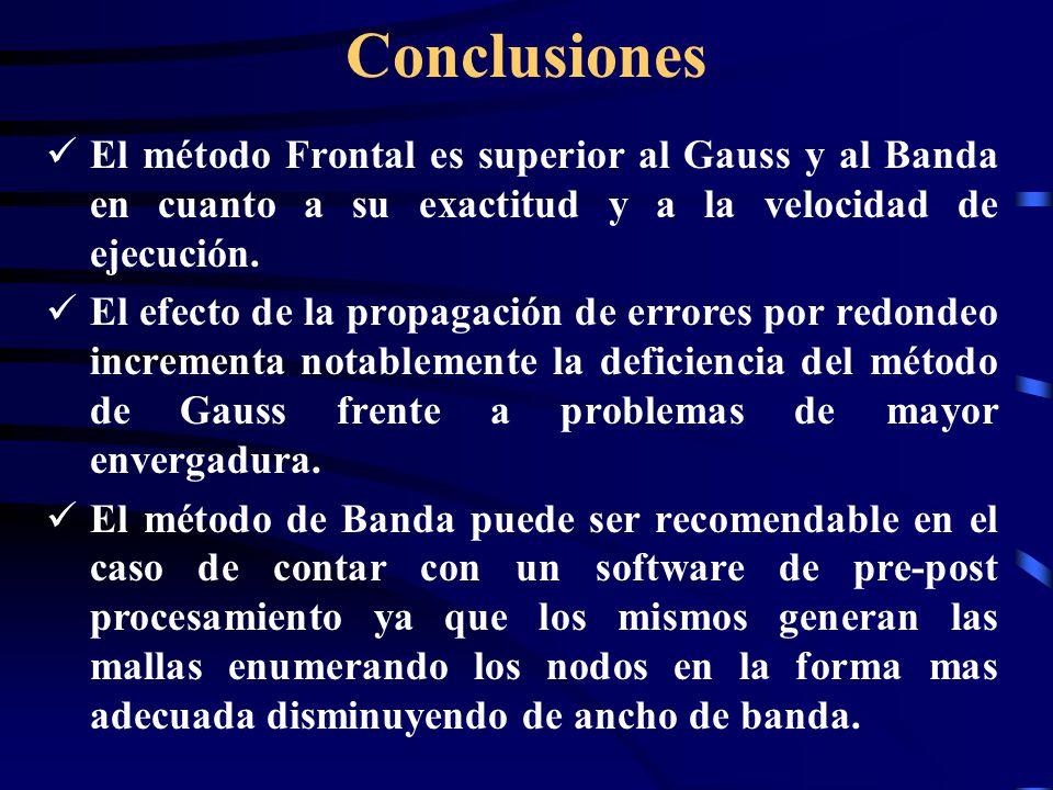 Conclusiones El método Frontal es superior al Gauss y al Banda en cuanto a su exactitud y a la velocidad de ejecución.