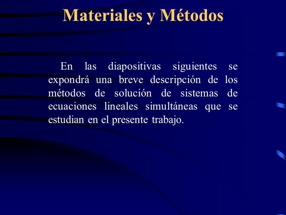 Materiales y Métodos En las diapositivas siguientes se expondrá una breve descripción de los métodos de solución de sistemas de ecuaciones lineales simultáneas que se estudian en el presente trabajo.