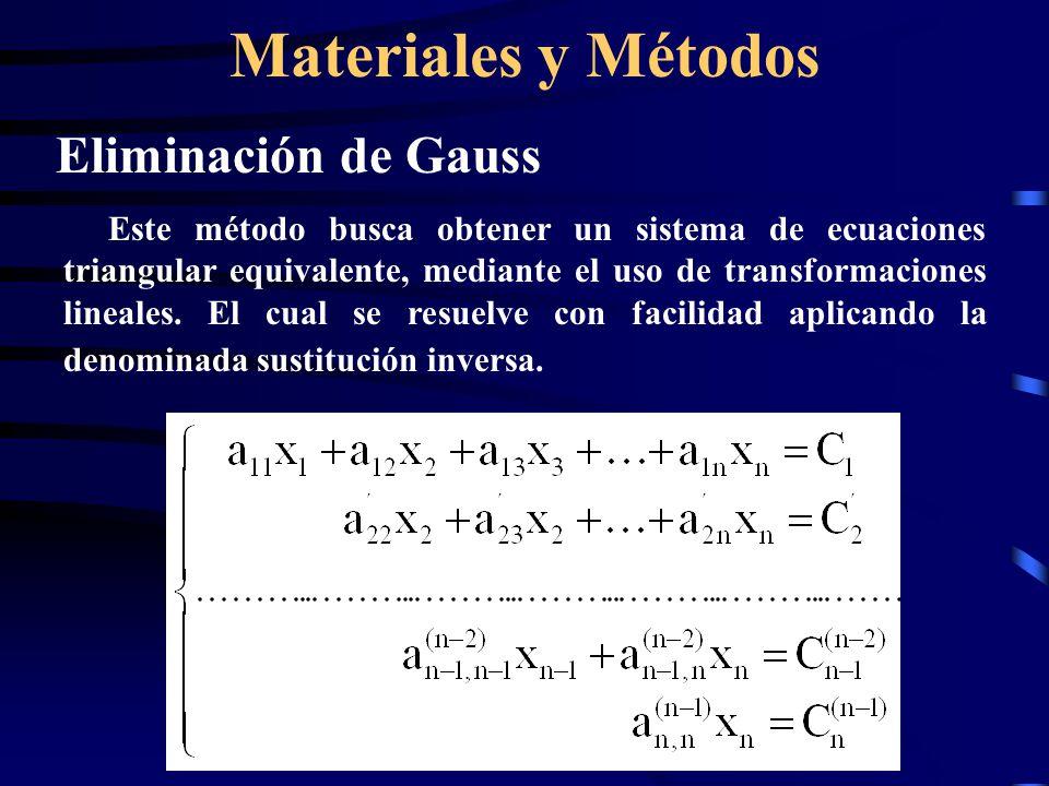 Materiales y Métodos Eliminación de Gauss Este método busca obtener un sistema de ecuaciones triangular equivalente, mediante el uso de transformaciones lineales.