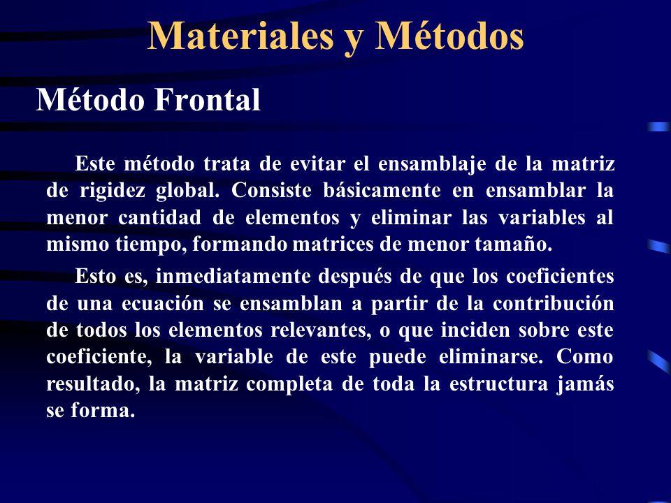 Materiales y Métodos Método Frontal A diferencia del método banda, la adecuada enumeración de los elemento es de gran importancia, no así la enumeración global de los nodos ya que estos son tratados por su numeración local.