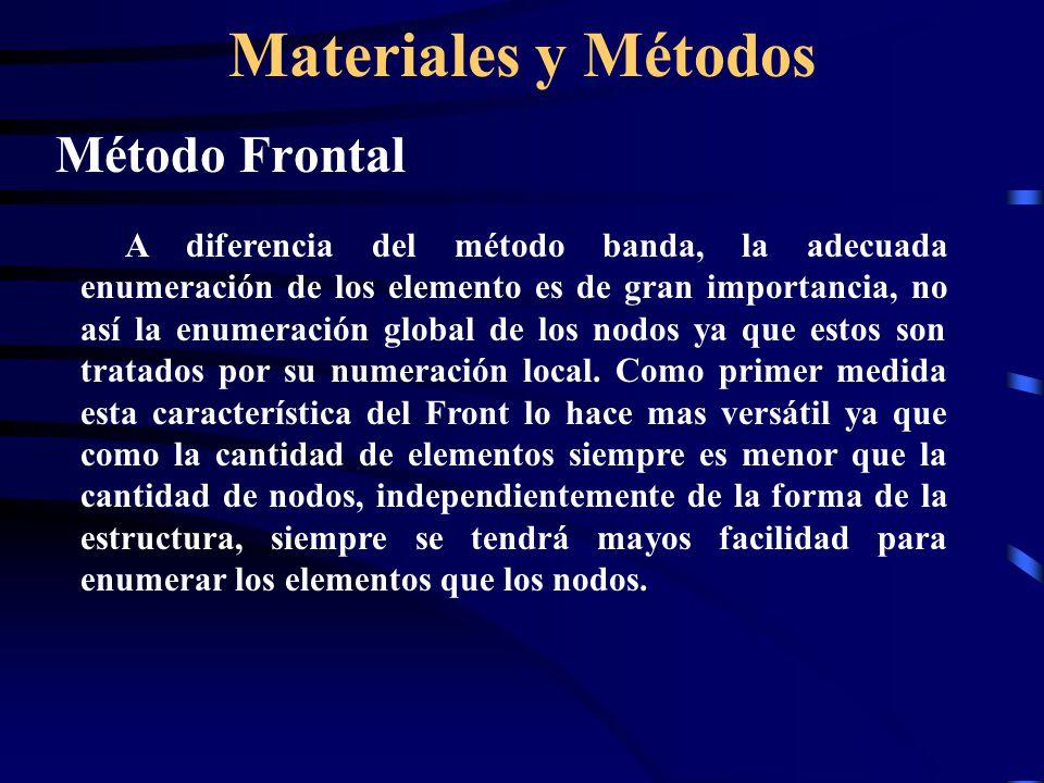 Materiales y Métodos Método Frontal A diferencia del método banda, la adecuada enumeración de los elemento es de gran importancia, no así la enumeraci