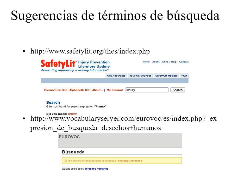 Sugerencias de términos de búsqueda http://www.safetylit.org/thes/index.php http://www.vocabularyserver.com/eurovoc/es/index.php?_ex presion_de_busque