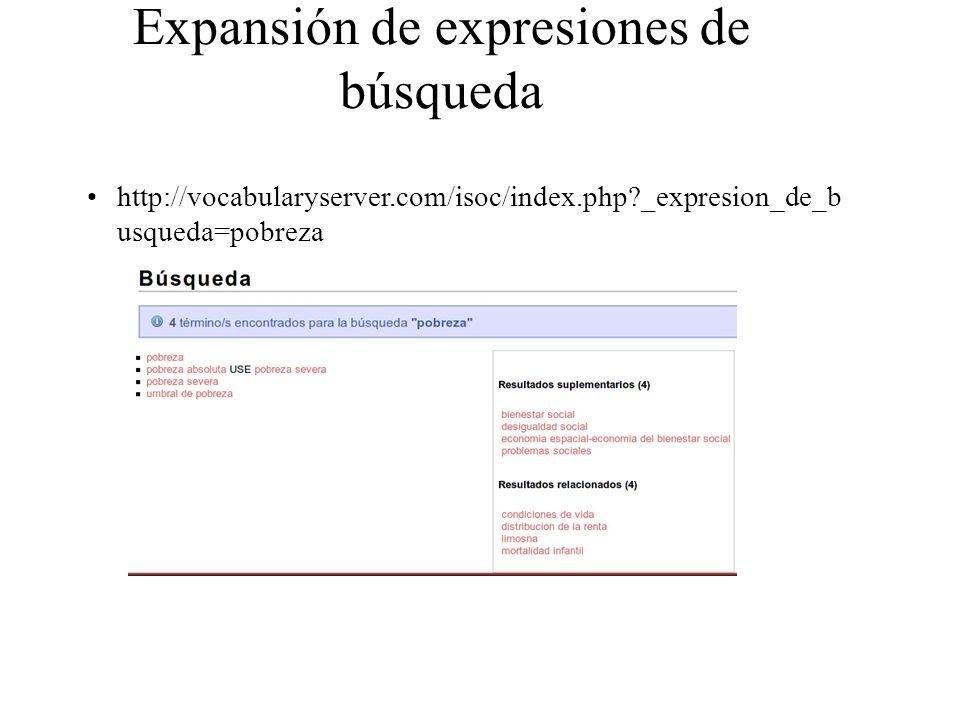 Expansión de expresiones de búsqueda http://vocabularyserver.com/isoc/index.php?_expresion_de_b usqueda=pobreza
