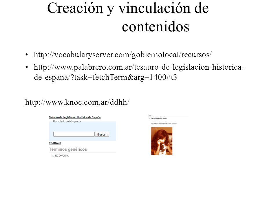 Creación y vinculación de contenidos http://vocabularyserver.com/gobiernolocal/recursos/ http://www.palabrero.com.ar/tesauro-de-legislacion-historica-
