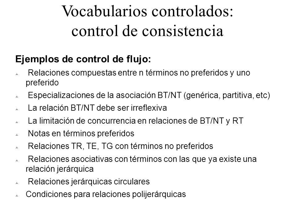 Vocabularios controlados: control de consistencia Ejemplos de control de flujo: Relaciones compuestas entre n términos no preferidos y uno preferido E