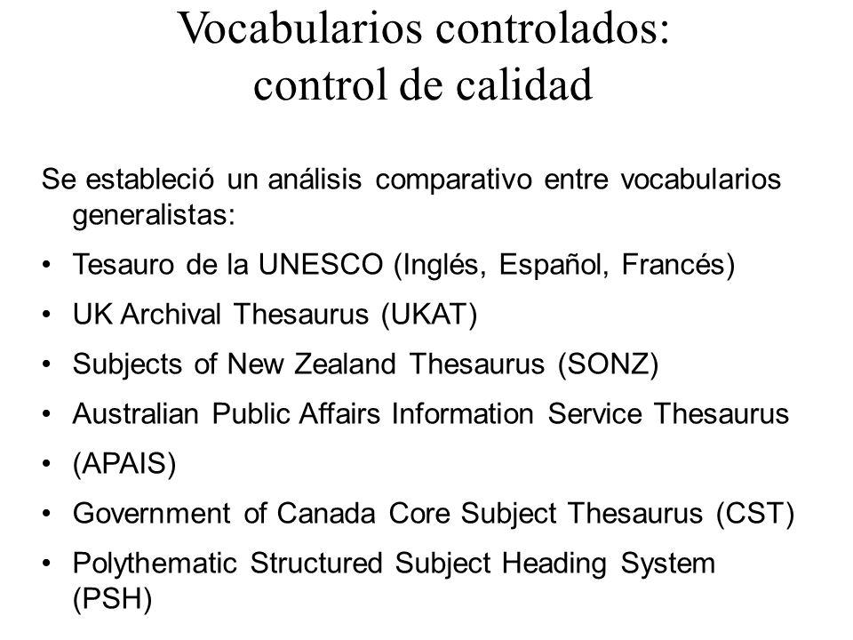 Vocabularios controlados: control de calidad Se estableció un análisis comparativo entre vocabularios generalistas: Tesauro de la UNESCO (Inglés, Espa
