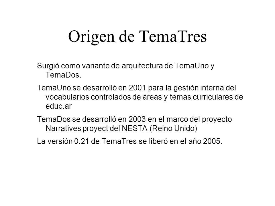 Origen de TemaTres Surgió como variante de arquitectura de TemaUno y TemaDos. TemaUno se desarrolló en 2001 para la gestión interna del vocabularios c
