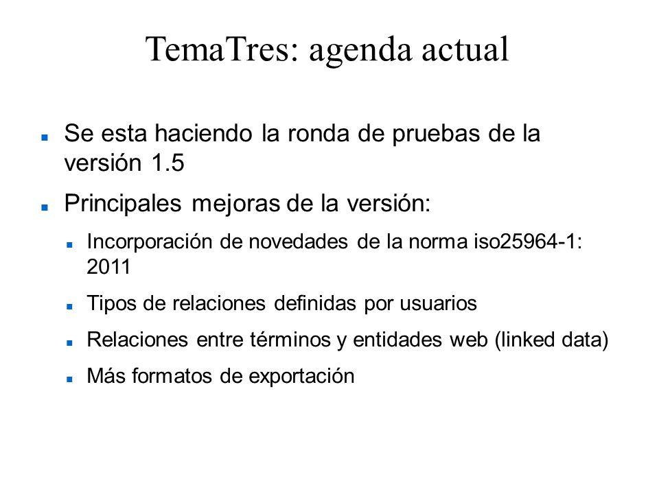 TemaTres: agenda actual Se esta haciendo la ronda de pruebas de la versión 1.5 Principales mejoras de la versión: Incorporación de novedades de la nor