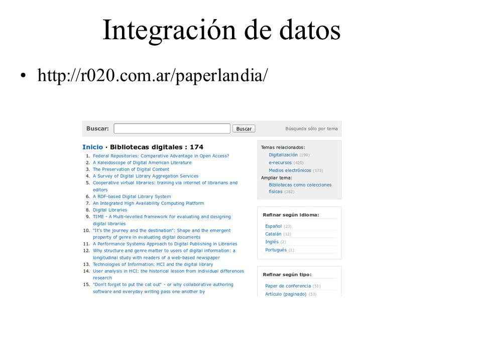 Integración de datos http://r020.com.ar/paperlandia/