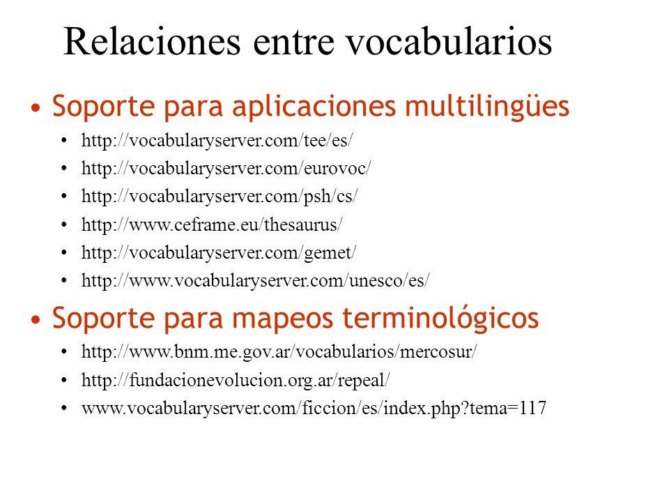 Relaciones entre vocabularios Soporte para aplicaciones multilingües http://vocabularyserver.com/tee/es/ http://vocabularyserver.com/eurovoc/ http://v