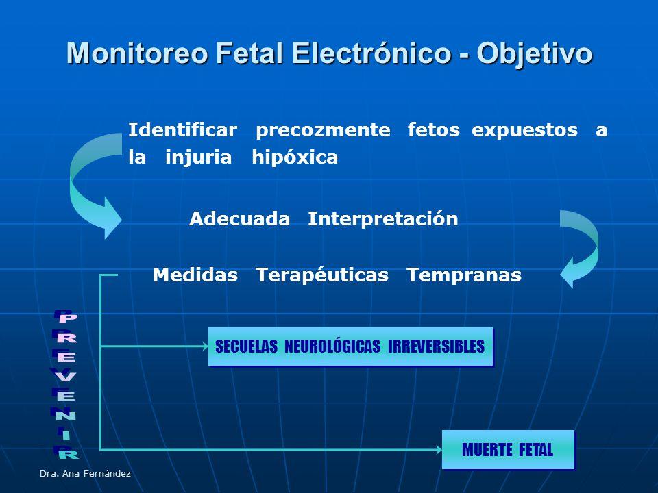 Dra. Ana Fernández Monitoreo Fetal Electrónico - Objetivo Identificar precozmente fetos expuestos a la injuria hipóxica Adecuada Interpretación Medida