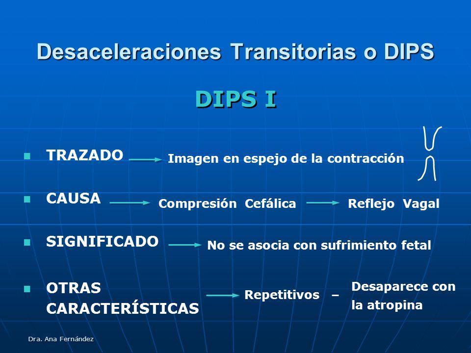 Dra. Ana Fernández Desaceleraciones Transitorias o DIPS TRAZADO CAUSA SIGNIFICADO DIPS I Compresión CefálicaReflejo Vagal Imagen en espejo de la contr