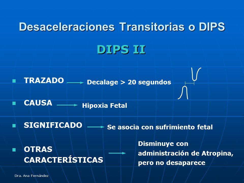 Dra. Ana Fernández Desaceleraciones Transitorias o DIPS TRAZADO CAUSA SIGNIFICADO DIPS II Hipoxia Fetal Decalage > 20 segundos Se asocia con sufrimien